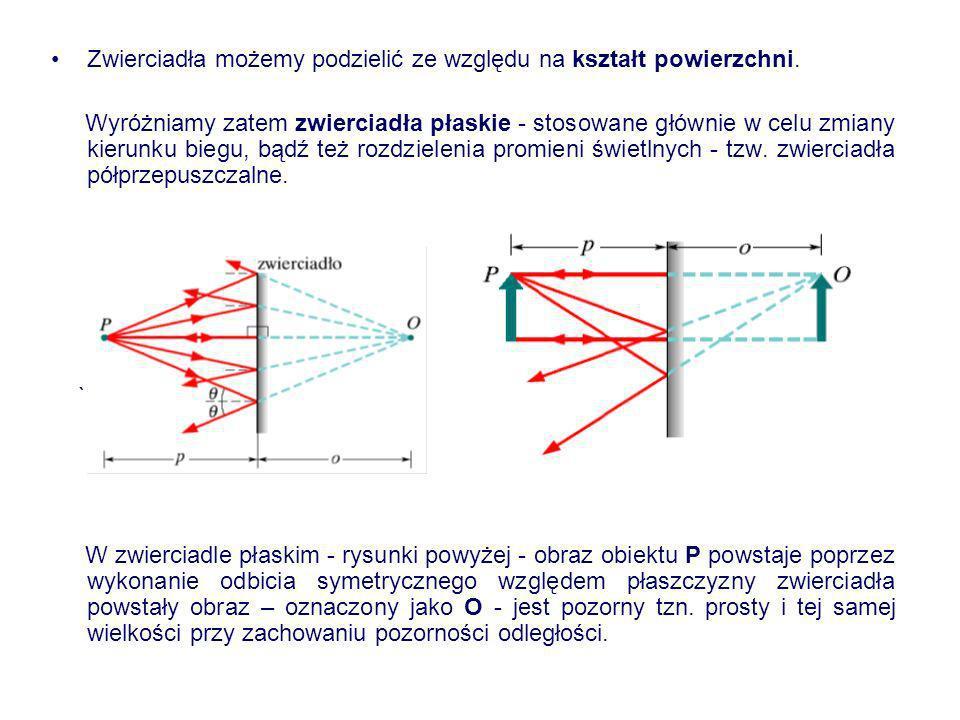 Zwierciadła możemy podzielić ze względu na kształt powierzchni. Wyróżniamy zatem zwierciadła płaskie - stosowane głównie w celu zmiany kierunku biegu,