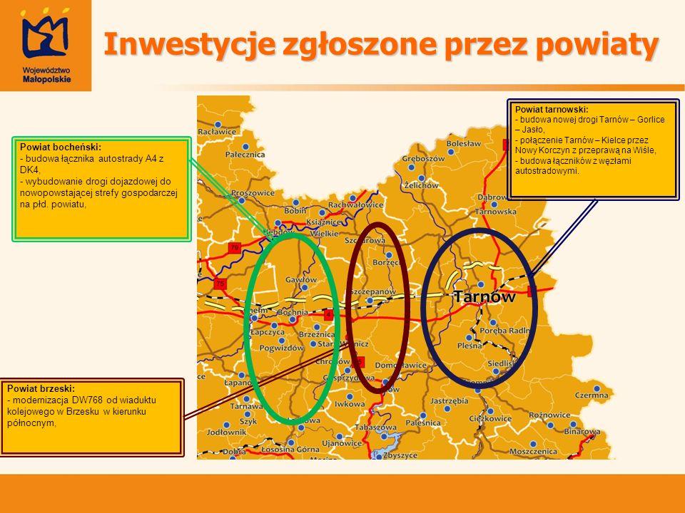 Powiat brzeski: - modernizacja DW768 od wiaduktu kolejowego w Brzesku w kierunku północnym, Powiat bocheński: - budowa łącznika autostrady A4 z DK4, -