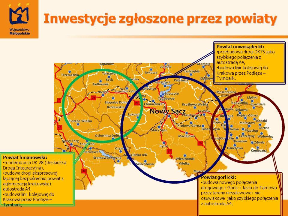 Powiat gorlicki: budowa nowego połączenia drogowego z Gorlic i Jasła do Tarnowa przez tereny niezalewowe i nie osuwiskowe jako szybkiego połączenia z