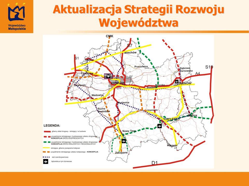 Konsultacje Strategii Przebudowa i modernizacja dróg krajowych i gminnych, Przebudowa i modernizacja infrastruktury kolejowej, Rozwój infrastruktury drogowej w ościennych powiatach Krakowa, Budowa stopnia wodnego Niepołomice oraz Podwale na Wiśle, Prace związane z realizacją zjazdów z pętli autostradowej, Modernizacja niektórych dróg wojewódzkich, Budowa obwodnic miast, Uruchomienie szybkiej kolei podmiejskiej, Większe wykorzystanie zbiorowej komunikacji autobusowej.