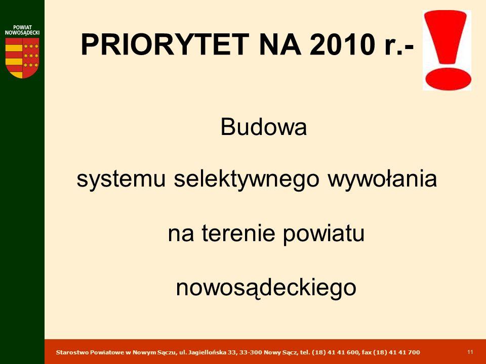 Starostwo Powiatowe w Nowym Sączu, ul. Jagiellońska 33, 33-300 Nowy Sącz, tel. (18) 41 41 600, fax (18) 41 41 700 11 PRIORYTET NA 2010 r.- Budowa syst