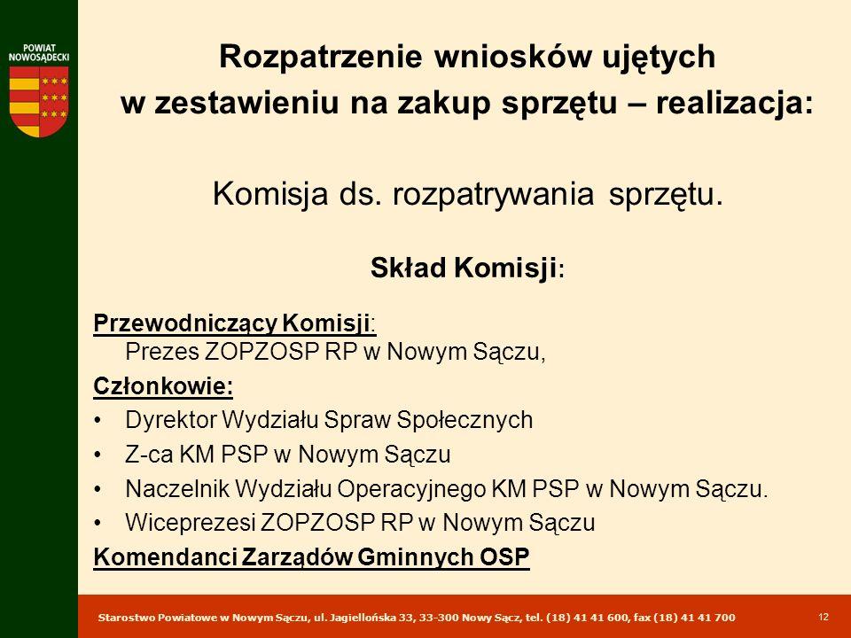 Starostwo Powiatowe w Nowym Sączu, ul. Jagiellońska 33, 33-300 Nowy Sącz, tel. (18) 41 41 600, fax (18) 41 41 700 12 Rozpatrzenie wniosków ujętych w z