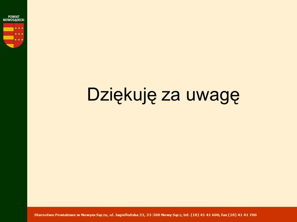 Starostwo Powiatowe w Nowym Sączu, ul. Jagiellońska 33, 33-300 Nowy Sącz, tel. (18) 41 41 600, fax (18) 41 41 700 Dziękuję za uwagę