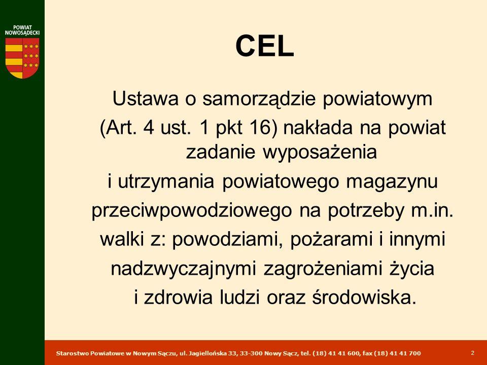 Starostwo Powiatowe w Nowym Sączu, ul. Jagiellońska 33, 33-300 Nowy Sącz, tel. (18) 41 41 600, fax (18) 41 41 700 2 CEL Ustawa o samorządzie powiatowy