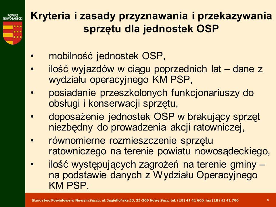 Starostwo Powiatowe w Nowym Sączu, ul. Jagiellońska 33, 33-300 Nowy Sącz, tel. (18) 41 41 600, fax (18) 41 41 700 6 Kryteria i zasady przyznawania i p