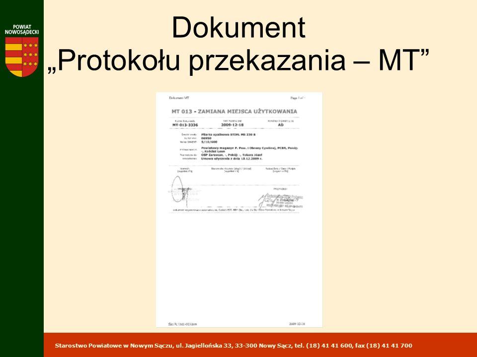 Starostwo Powiatowe w Nowym Sączu, ul. Jagiellońska 33, 33-300 Nowy Sącz, tel. (18) 41 41 600, fax (18) 41 41 700 Dokument Protokołu przekazania – MT