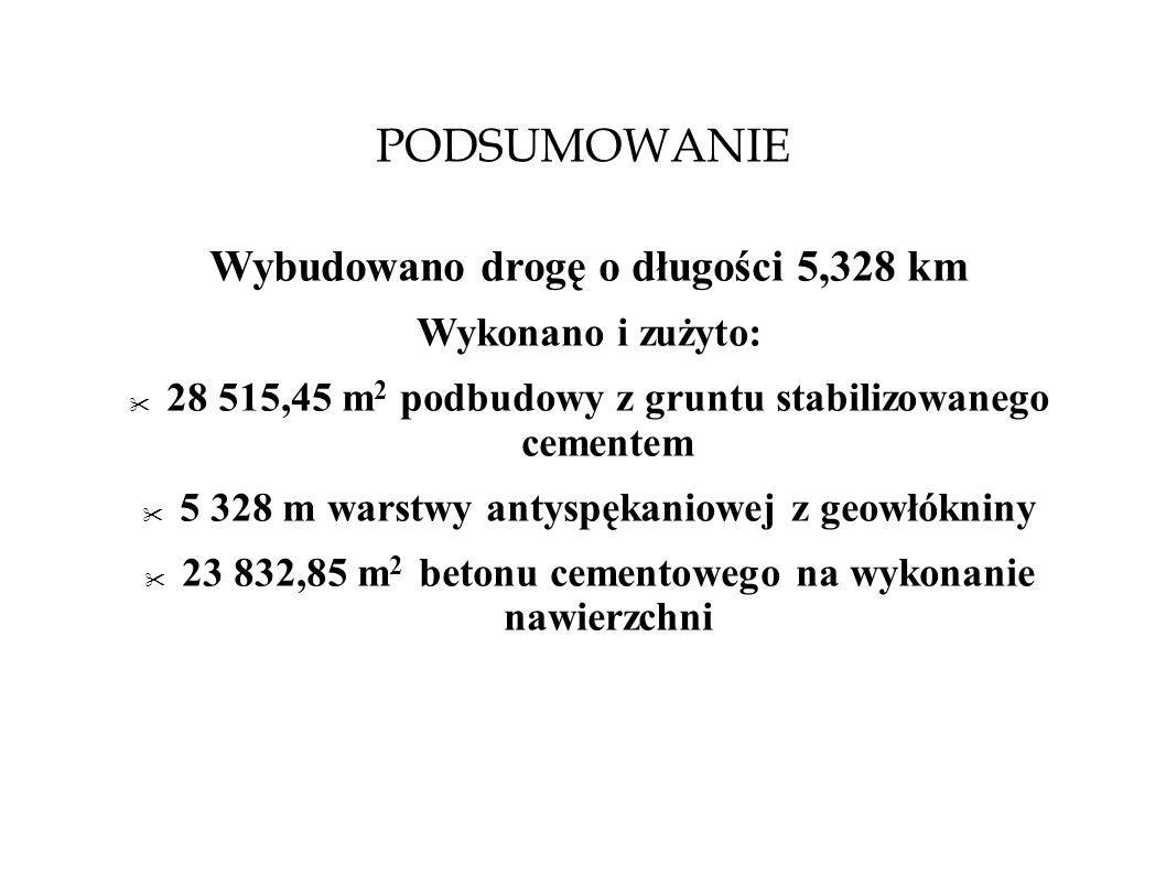 PODSUMOWANIE Wybudowano drogę o długości 5,328 km Wykonano i zużyto: 28 515,45 m 2 podbudowy z gruntu stabilizowanego cementem 5 328 m warstwy antyspę