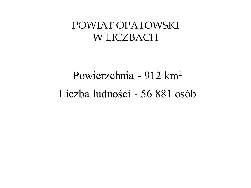 POWIAT OPATOWSKI W LICZBACH Powierzchnia - 912 km 2 Liczba ludności - 56 881 osób
