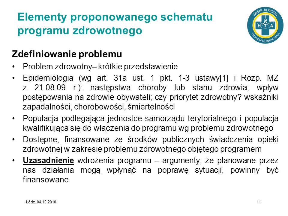 Łódź, 04.10.2010 11 Elementy proponowanego schematu programu zdrowotnego Zdefiniowanie problemu Problem zdrowotny– krótkie przedstawienie Epidemiologi