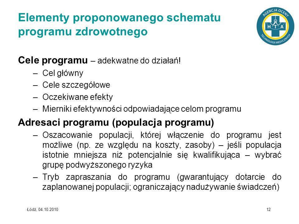 Łódź, 04.10.2010 12 Elementy proponowanego schematu programu zdrowotnego Cele programu – adekwatne do działań! –Cel główny –Cele szczegółowe –Oczekiwa