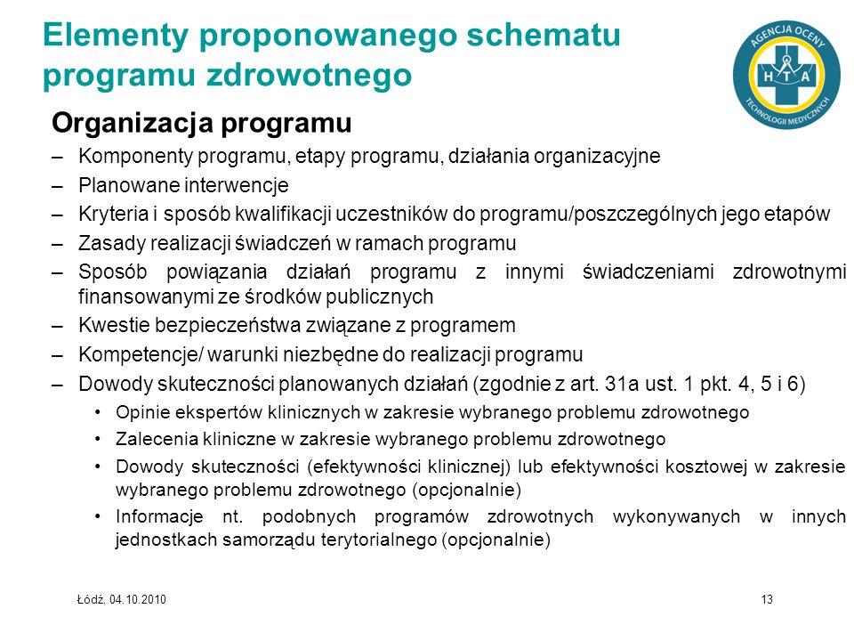 Łódź, 04.10.2010 13 Organizacja programu –Komponenty programu, etapy programu, działania organizacyjne –Planowane interwencje –Kryteria i sposób kwali