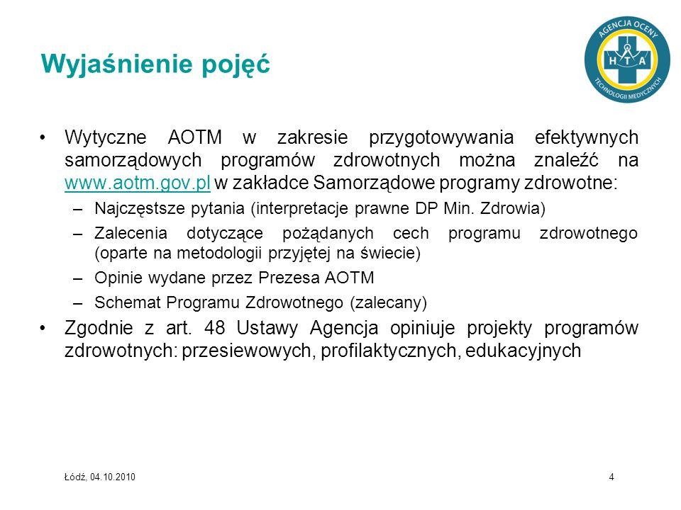 Łódź, 04.10.2010 4 Wyjaśnienie pojęć Wytyczne AOTM w zakresie przygotowywania efektywnych samorządowych programów zdrowotnych można znaleźć na www.aot