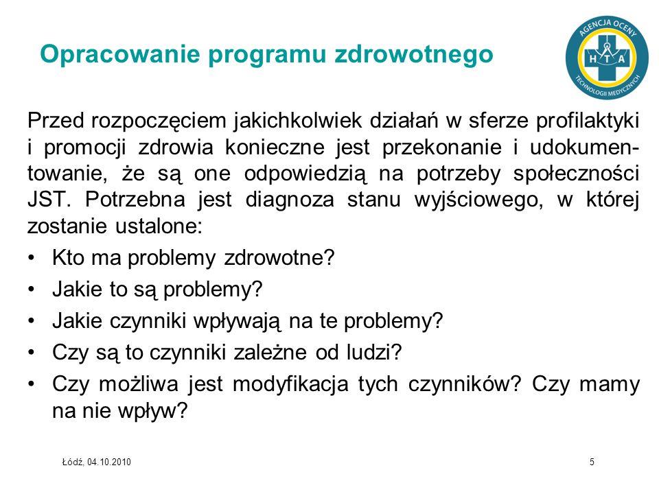 Łódź, 04.10.2010 5 Opracowanie programu zdrowotnego Przed rozpoczęciem jakichkolwiek działań w sferze profilaktyki i promocji zdrowia konieczne jest p