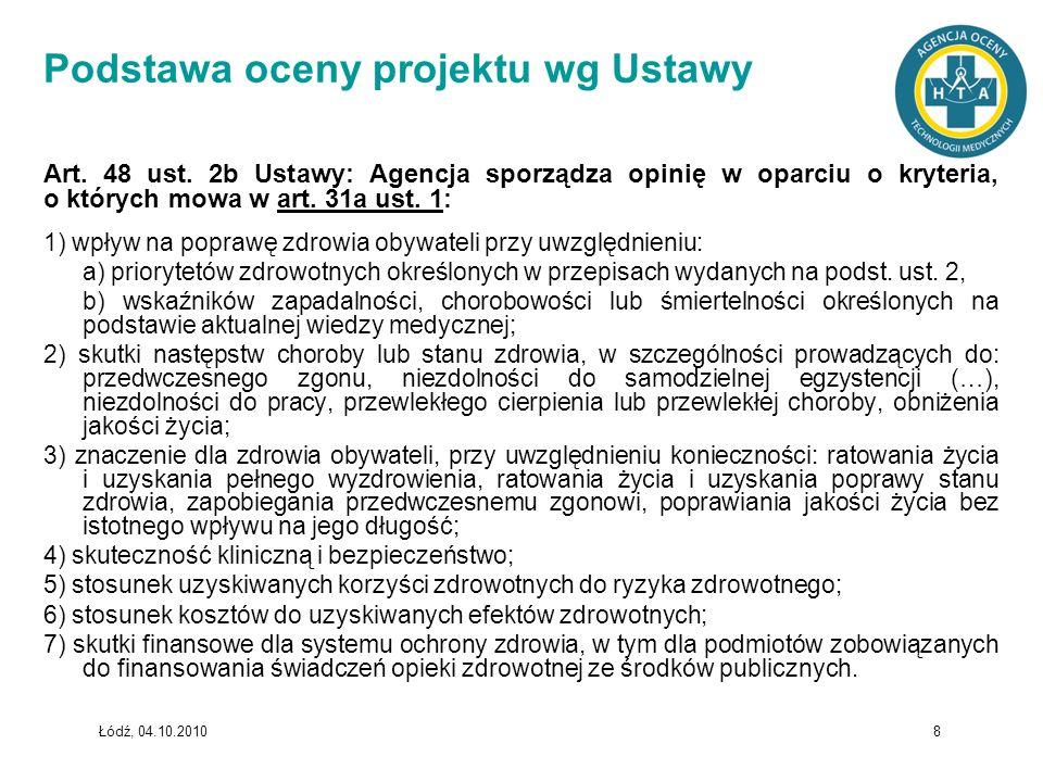 Łódź, 04.10.2010 8 Podstawa oceny projektu wg Ustawy Art. 48 ust. 2b Ustawy: Agencja sporządza opinię w oparciu o kryteria, o których mowa w art. 31a