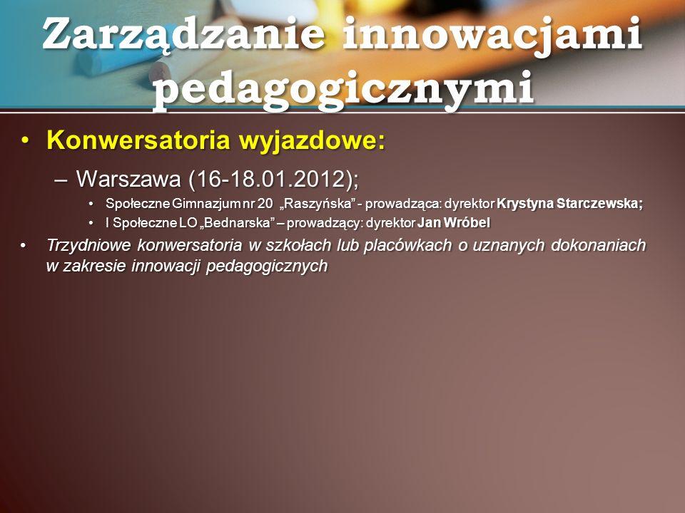 Konwersatoria wyjazdowe:Konwersatoria wyjazdowe: –Warszawa (16-18.01.2012); Społeczne Gimnazjum nr 20 Raszyńska - prowadząca: dyrektor Krystyna Starcz
