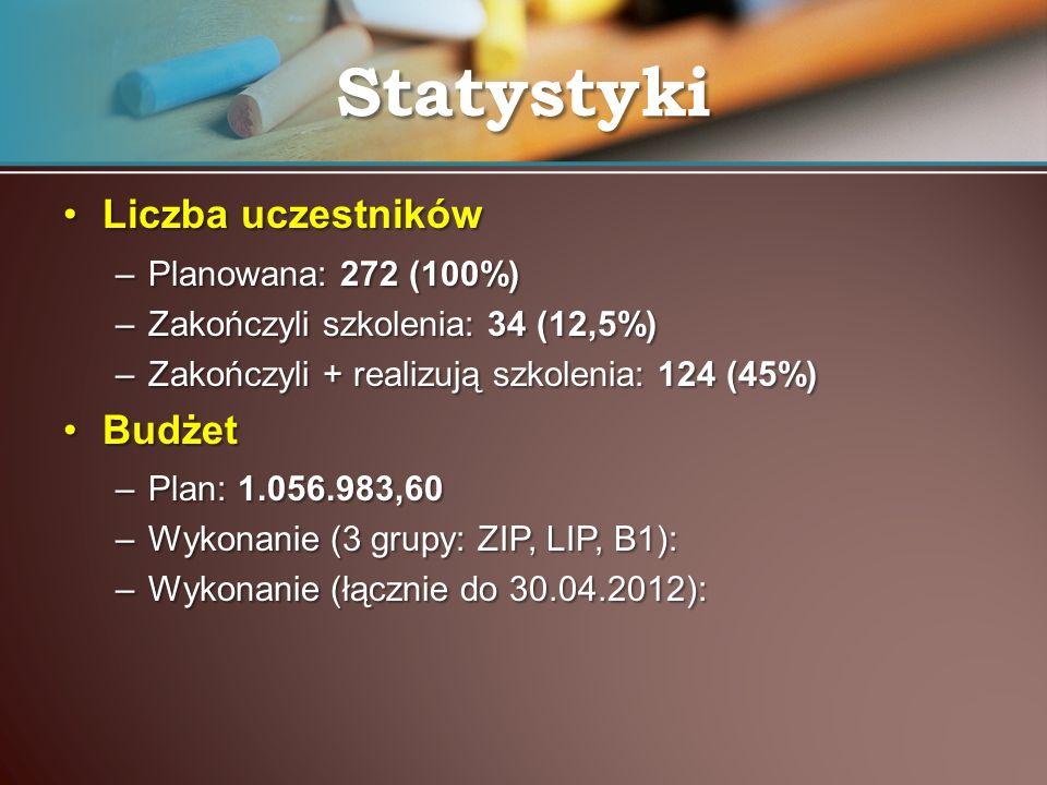 Liczba uczestnikówLiczba uczestników –Planowana: 272 (100%) –Zakończyli szkolenia: 34 (12,5%) –Zakończyli + realizują szkolenia: 124 (45%) BudżetBudże