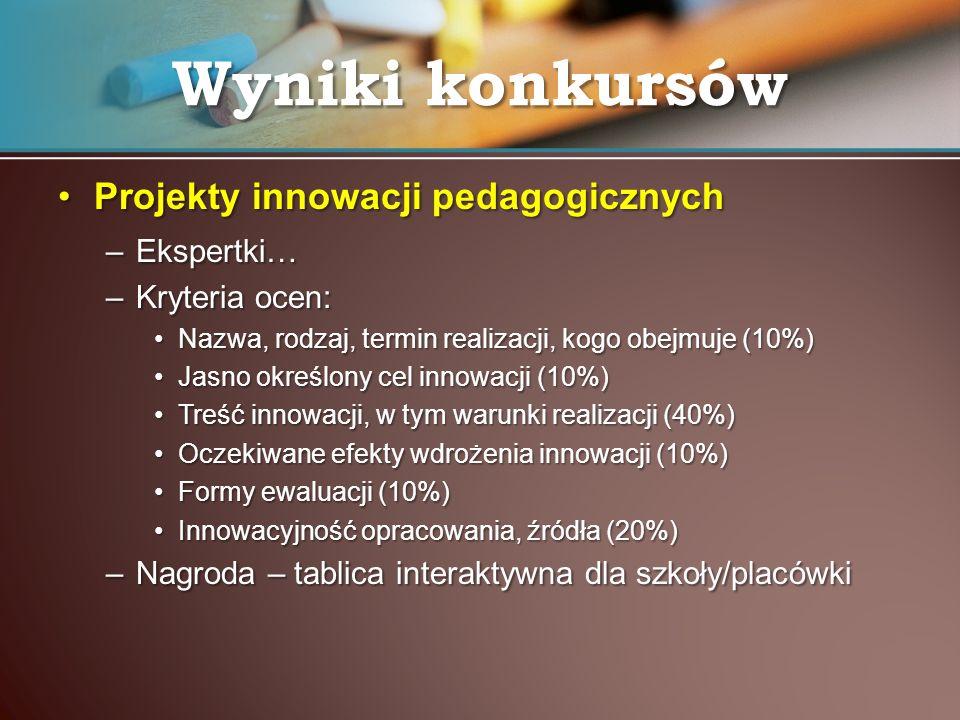 Projekty innowacji pedagogicznychProjekty innowacji pedagogicznych –Ekspertki… –Kryteria ocen: Nazwa, rodzaj, termin realizacji, kogo obejmuje (10%)Na