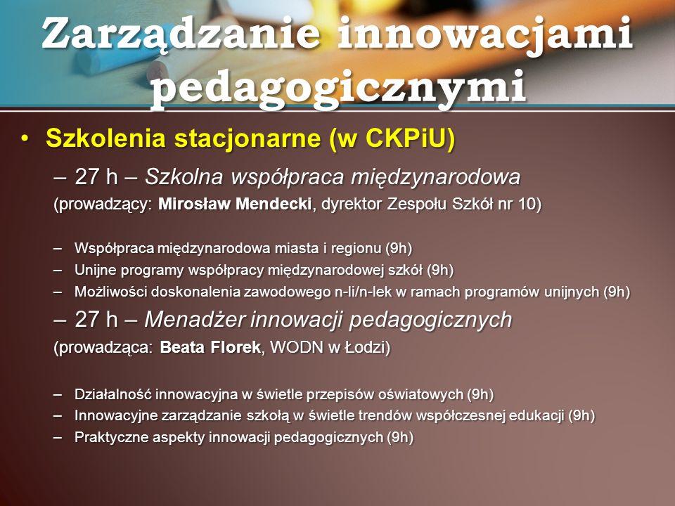 Zarządzanie innowacjami pedagogicznymi:Zarządzanie innowacjami pedagogicznymi: –96 godzin szkoleń stacjonarnych i wyjazdowych; –12 zaświadczeń ukończenia kursu doskonalącego –2 autorskie programy kursów szkoleniowych: Szkolna współpraca międzynarodowa (Mirosław Mendecki)Szkolna współpraca międzynarodowa (Mirosław Mendecki) Menadżer innowacji pedagogicznych (Marta Kotarba – Kańczugowska)Menadżer innowacji pedagogicznych (Marta Kotarba – Kańczugowska) –12 konkursowych planów rozwojowych szkół i placówek oświatowych (koncepcji pracy szkoły) Rezultaty kursów