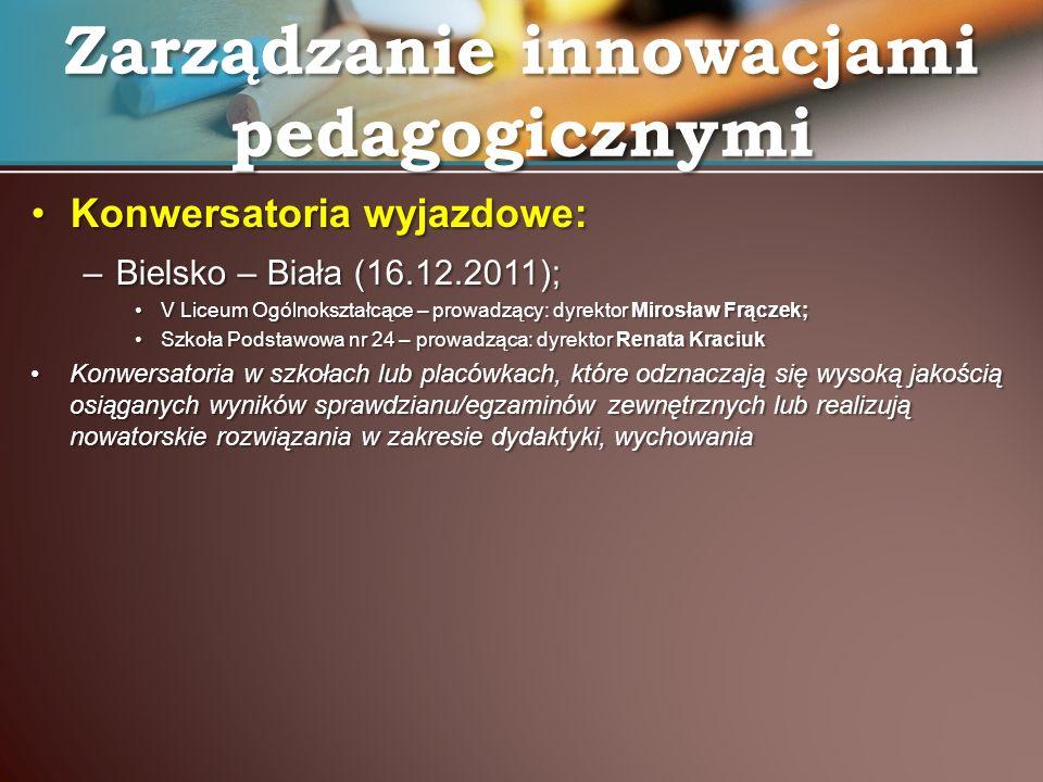 Konwersatoria wyjazdowe:Konwersatoria wyjazdowe: –Bielsko – Biała (16.12.2011); V Liceum Ogólnokształcące – prowadzący: dyrektor Mirosław Frączek;V Li