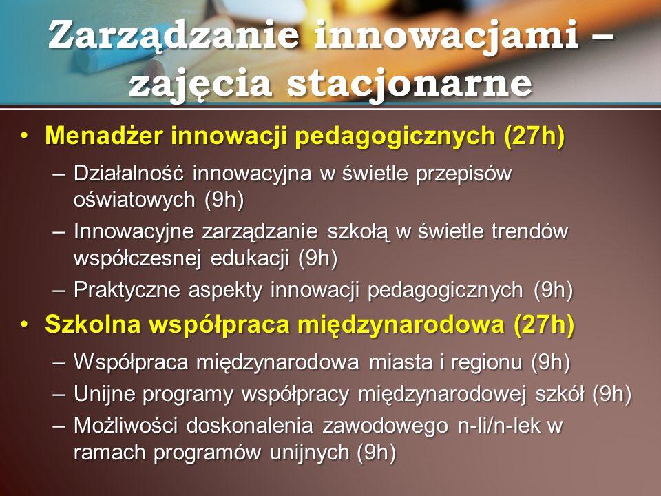 Menadżer innowacji pedagogicznych (27h)Menadżer innowacji pedagogicznych (27h) –Działalność innowacyjna w świetle przepisów oświatowych (9h) –Innowacy