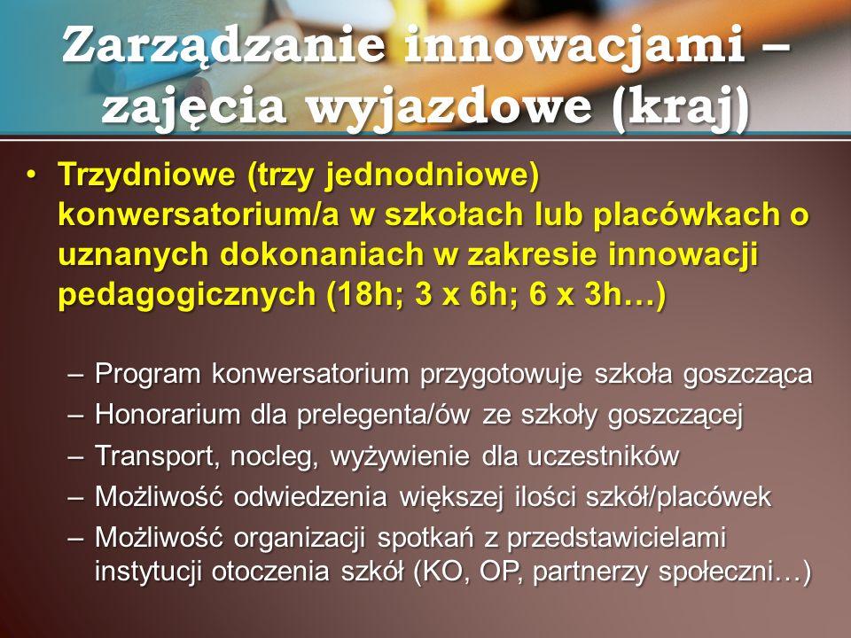 Trzydniowe (trzy jednodniowe) konwersatorium/a w szkołach lub placówkach o uznanych dokonaniach w zakresie innowacji pedagogicznych (18h; 3 x 6h; 6 x