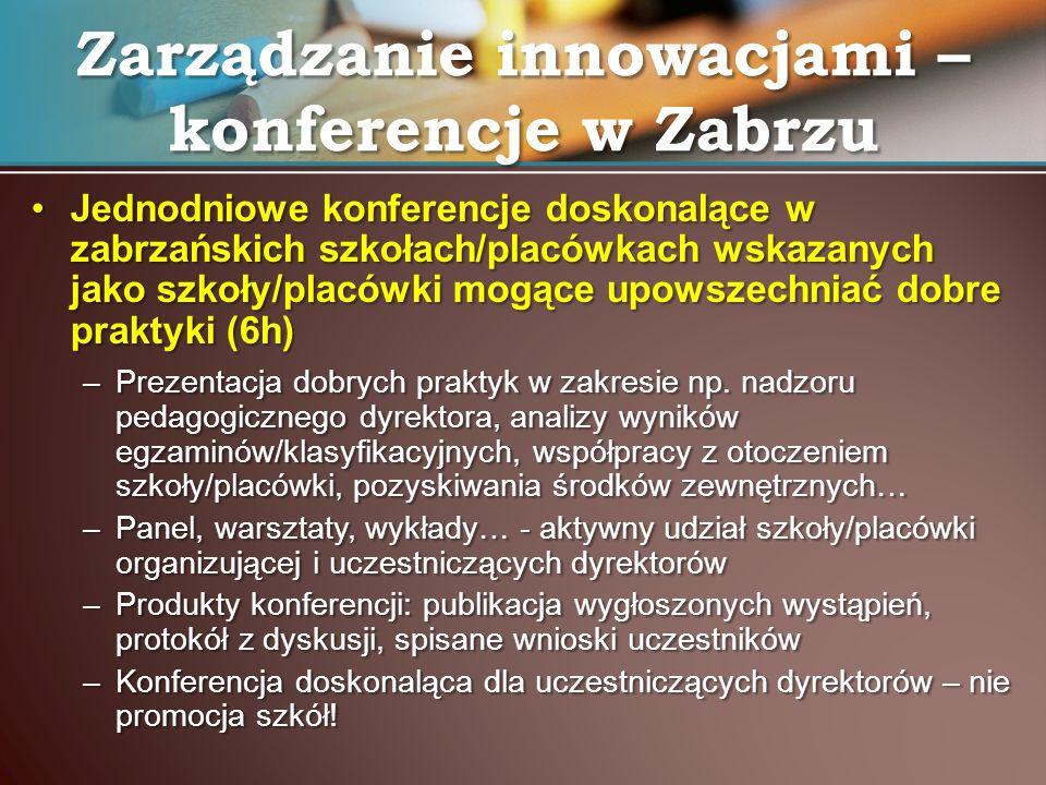 Jednodniowe konferencje doskonalące w zabrzańskich szkołach/placówkach wskazanych jako szkoły/placówki mogące upowszechniać dobre praktyki (6h)Jednodn