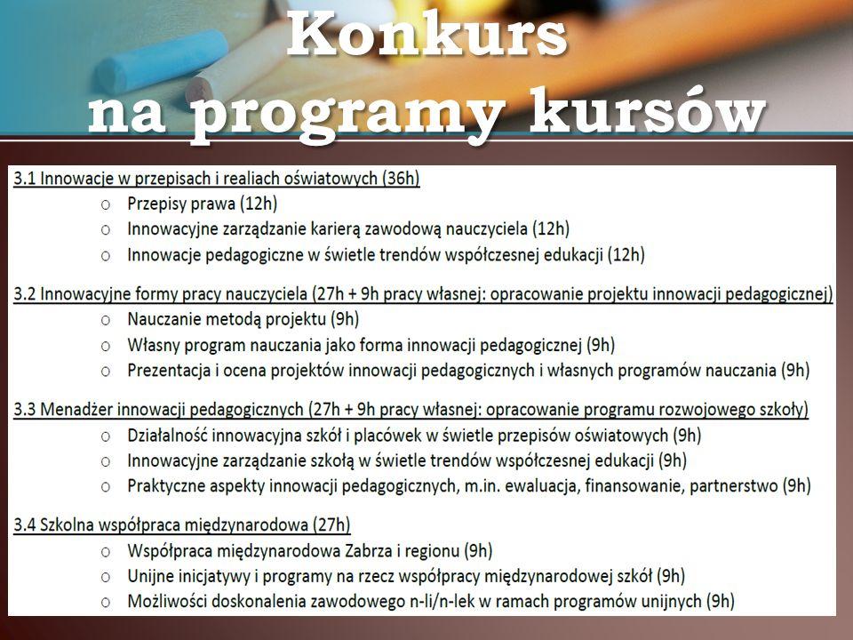 Konkurs na programy kursów