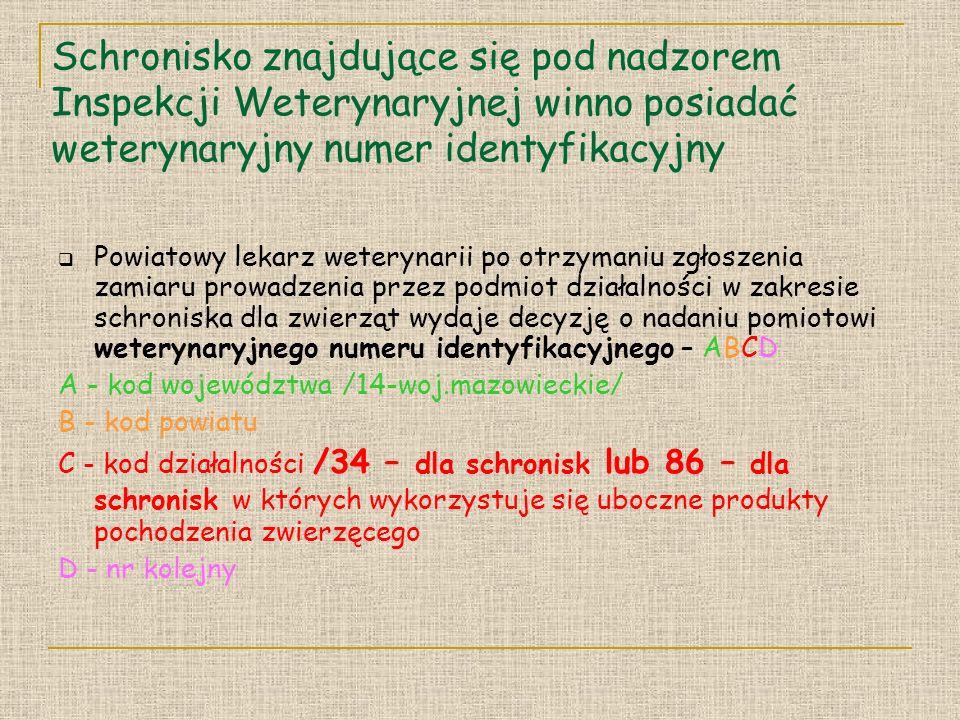 Schronisko znajdujące się pod nadzorem Inspekcji Weterynaryjnej winno posiadać weterynaryjny numer identyfikacyjny Powiatowy lekarz weterynarii po otrzymaniu zgłoszenia zamiaru prowadzenia przez podmiot działalności w zakresie schroniska dla zwierząt wydaje decyzję o nadaniu pomiotowi weterynaryjnego numeru identyfikacyjnego – ABCD A - kod województwa /14-woj.mazowieckie/ B - kod powiatu C - kod działalności /34 – dla schronisk lub 86 – dla schronisk w których wykorzystuje się uboczne produkty pochodzenia zwierzęcego D - nr kolejny