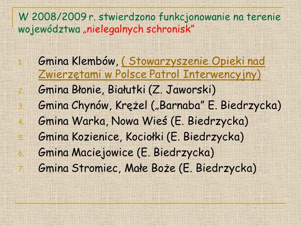 W 2008/2009 r.stwierdzono funkcjonowanie na terenie województwa nielegalnych schronisk 1.