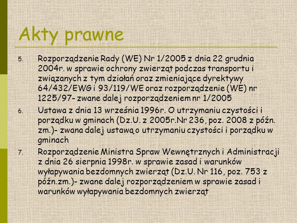 Akty prawne 5.Rozporządzenie Rady (WE) Nr 1/2005 z dnia 22 grudnia 2004r.