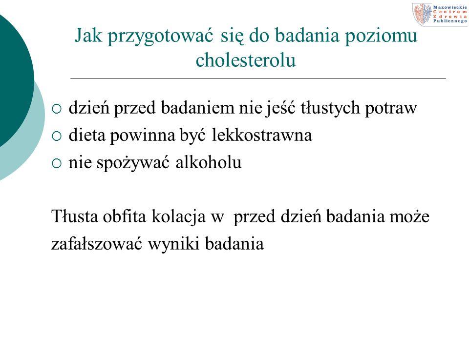 Jak przygotować się do badania poziomu cholesterolu dzień przed badaniem nie jeść tłustych potraw dieta powinna być lekkostrawna nie spożywać alkoholu