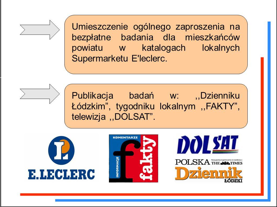 Umieszczenie ogólnego zaproszenia na bezpłatne badania dla mieszkańców powiatu w katalogach lokalnych Supermarketu E leclerc.