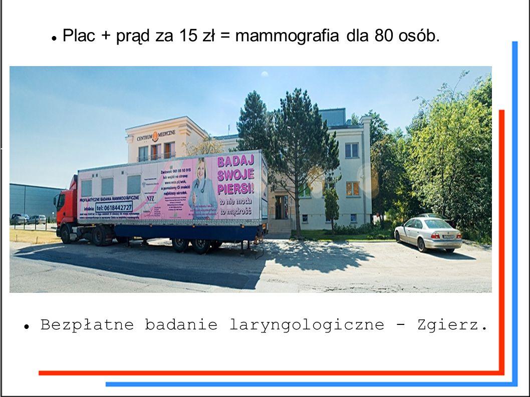 Plac + prąd za 15 zł = mammografia dla 80 osób. Bezpłatne badanie laryngologiczne - Zgierz.