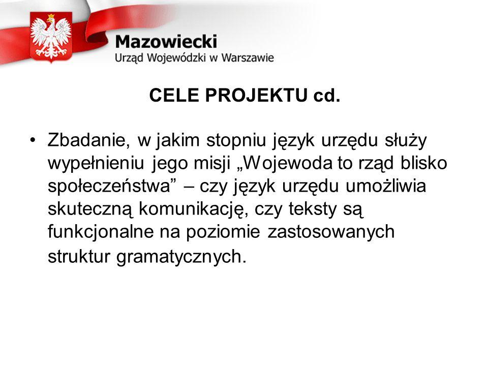 CELE PROJEKTU cd.Wypełnienie ustawowego obowiązku ochrony języka polskiego.