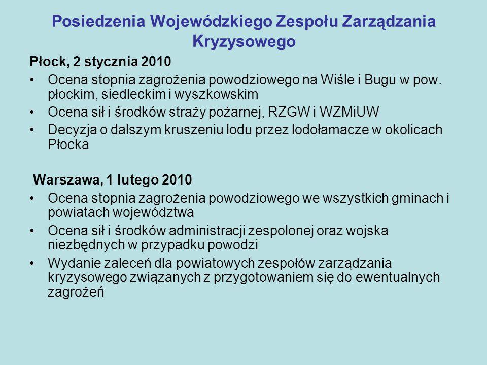Posiedzenia Wojewódzkiego Zespołu Zarządzania Kryzysowego Płock, 2 stycznia 2010 Ocena stopnia zagrożenia powodziowego na Wiśle i Bugu w pow. płockim,