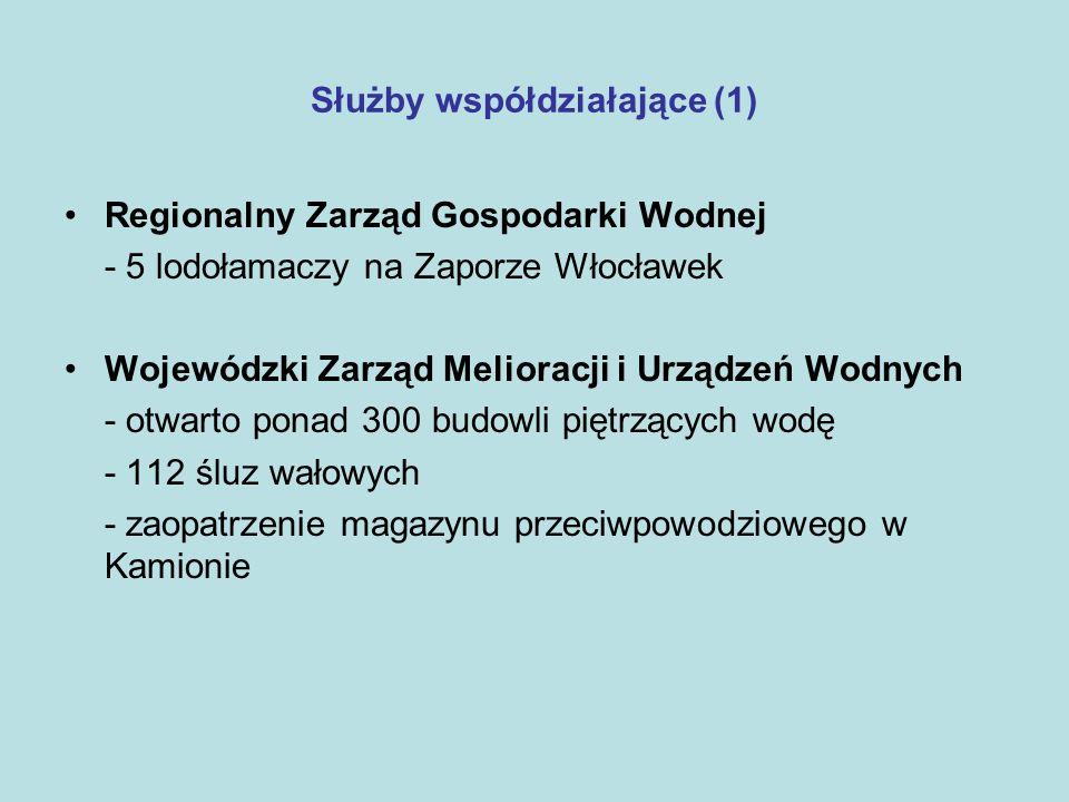 Służby współdziałające (1) Regionalny Zarząd Gospodarki Wodnej - 5 lodołamaczy na Zaporze Włocławek Wojewódzki Zarząd Melioracji i Urządzeń Wodnych -