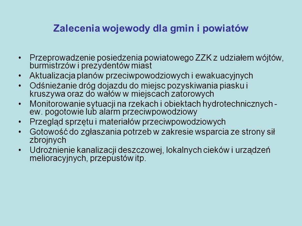 Zalecenia wojewody dla gmin i powiatów Przeprowadzenie posiedzenia powiatowego ZZK z udziałem wójtów, burmistrzów i prezydentów miast Aktualizacja pla
