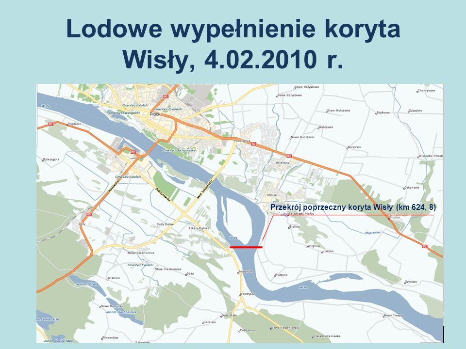 Lodowe wypełnienie koryta Wisły, 4.02.2010 r. Przekrój poprzeczny koryta Wisły (km 624, 8)