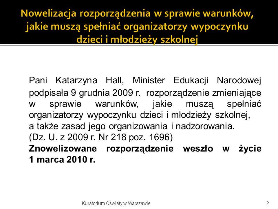 Pani Katarzyna Hall, Minister Edukacji Narodowej podpisała 9 grudnia 2009 r. rozporządzenie zmieniające w sprawie warunków, jakie muszą spełniać organ