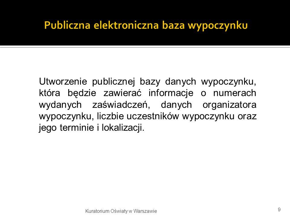 Utworzenie publicznej bazy danych wypoczynku, która będzie zawierać informacje o numerach wydanych zaświadczeń, danych organizatora wypoczynku, liczbi