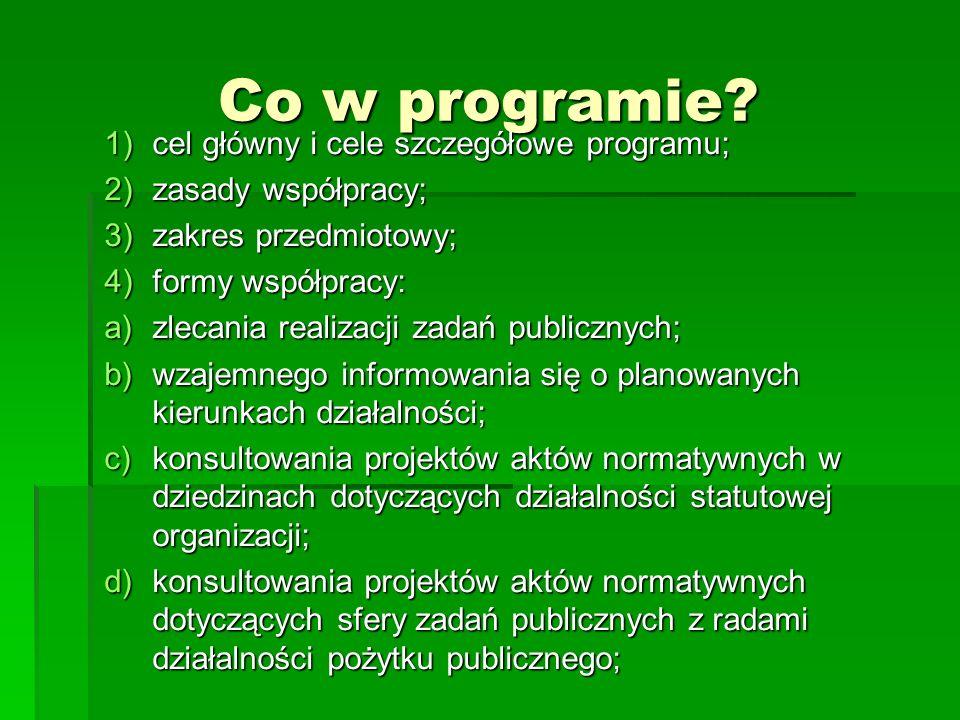 Co w programie? 1)cel główny i cele szczegółowe programu; 2)zasady współpracy; 3)zakres przedmiotowy; 4)formy współpracy: a)zlecania realizacji zadań