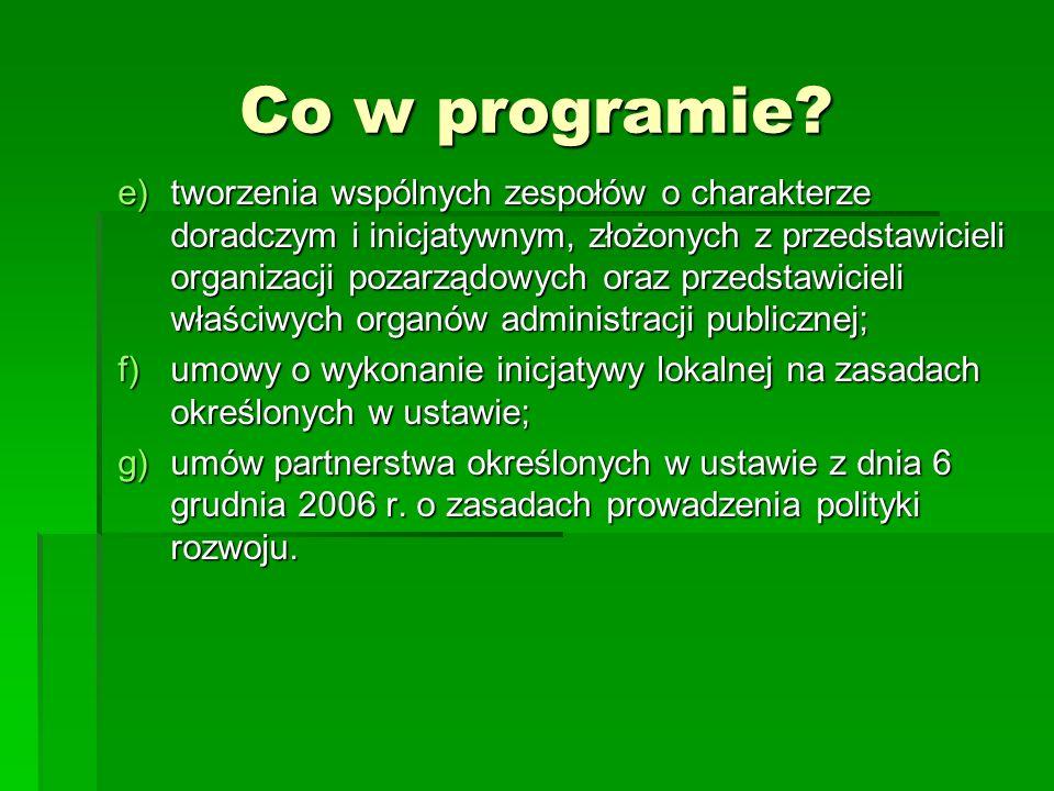 Co w programie? e)tworzenia wspólnych zespołów o charakterze doradczym i inicjatywnym, złożonych z przedstawicieli organizacji pozarządowych oraz prze