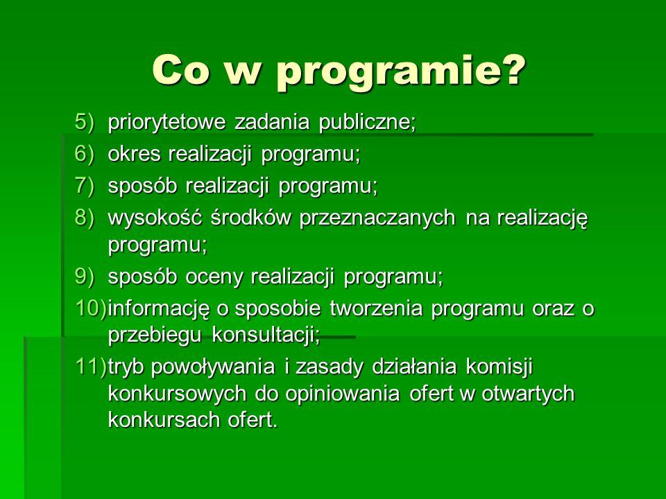 Co w programie? 5)priorytetowe zadania publiczne; 6)okres realizacji programu; 7)sposób realizacji programu; 8)wysokość środków przeznaczanych na real
