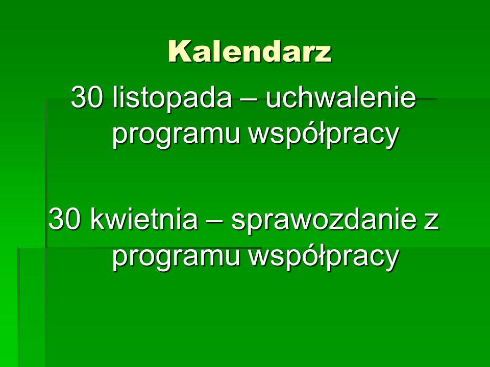 Kalendarz 30 listopada – uchwalenie programu współpracy 30 kwietnia – sprawozdanie z programu współpracy