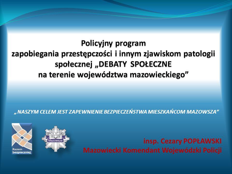 insp. Cezary POPŁAWSKI Mazowiecki Komendant Wojewódzki Policji NASZYM CELEM JEST ZAPEWNIENIE BEZPIECZEŃSTWA MIESZKAŃCOM MAZOWSZA
