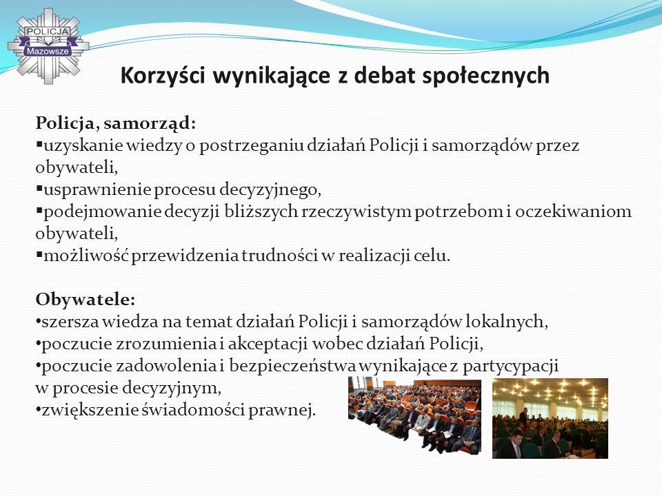 Korzyści wynikające z debat społecznych Policja, samorząd: uzyskanie wiedzy o postrzeganiu działań Policji i samorządów przez obywateli, usprawnienie