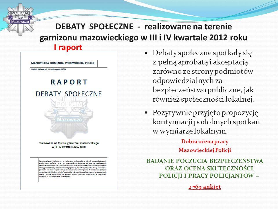 DEBATY SPOŁECZNE - realizowane na terenie garnizonu mazowieckiego w III i IV kwartale 2012 roku Debaty społeczne spotkały się z pełną aprobatą i akcep