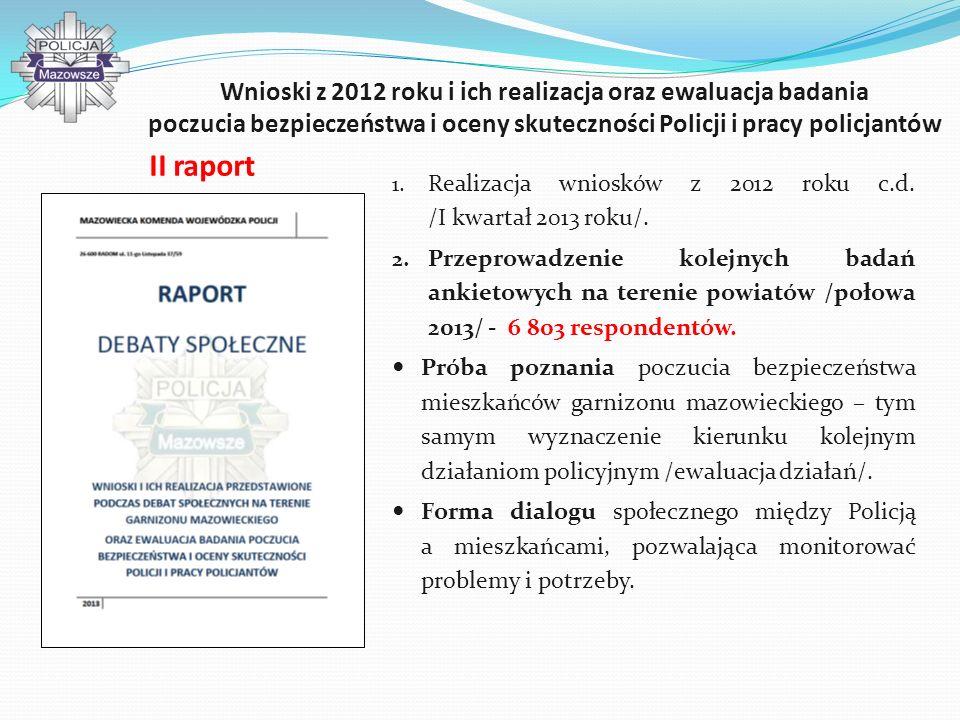 Wnioski z 2012 roku i ich realizacja oraz ewaluacja badania poczucia bezpieczeństwa i oceny skuteczności Policji i pracy policjantów 1. Realizacja wni