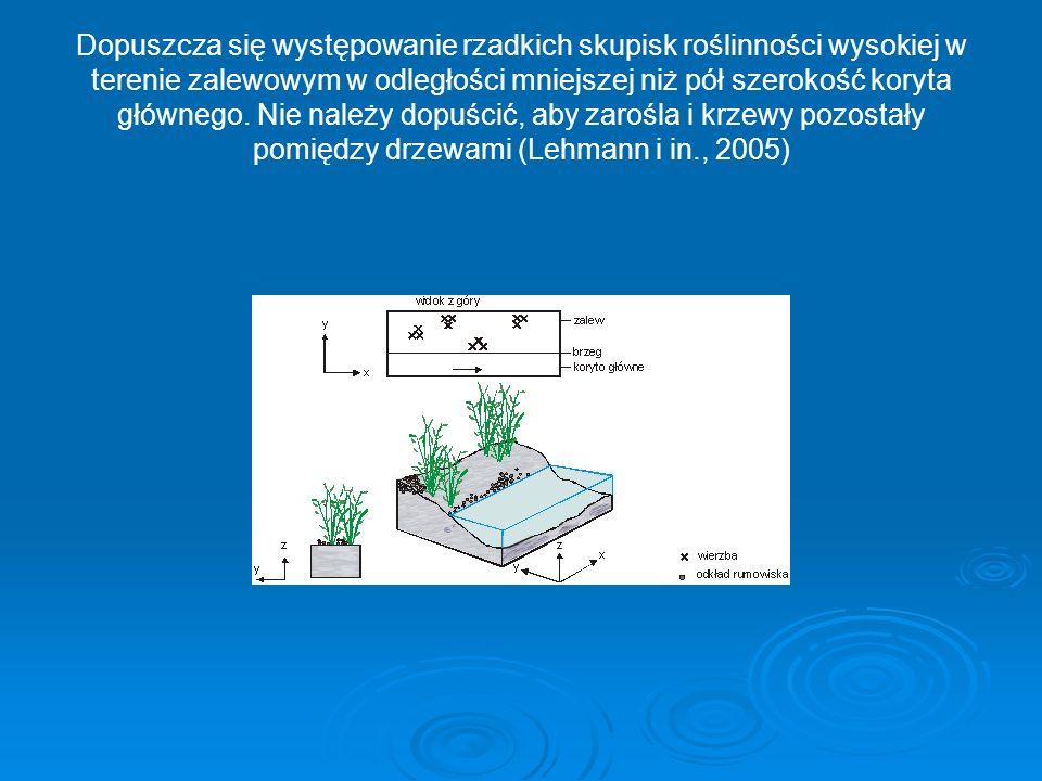 Dopuszcza się występowanie rzadkich skupisk roślinności wysokiej w terenie zalewowym w odległości mniejszej niż pół szerokość koryta głównego. Nie nal