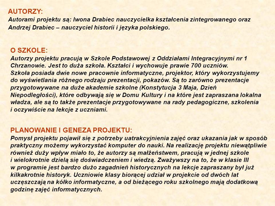 CELE PROJEKTU: - rozbudzanie postawy patriotycznej, - przypomnienie i utrwalenie treści legend poznanych w klasach I-III, - zaznajomienie uczniów z historią polskich stolic, - uwrażliwienie na piękno polskich zabytków, - rozwijanie umiejętności wypowiadania się na określony temat, - ćwiczenia w zakresie płynnego czytania, - utrwalenie pisowni nazw wielką literą - ukazanie możliwości wykorzystania komputera w celu wyszukiwania informacji, - rozwijanie umiejętności pracy z komputerem, - doskonalenie pracy w edytorze graficznym Paint i edytorze tekstowym Word, - utrwalenie piosenki Krakowiaczek, Warszawski wróbel - wyrabianie postawy twórczej, - wzbudzanie aktywności ucznia, - kształtowanie umiejętności pracy w grupach, CO UCZEŃ UMIE PO LEKCJI: - zna i opowiada legendy związane ze stolicami Polski - zna krótką historię powstania stolic - potrafi wymienić najważniejsze zabytki stolic Polski - wie co oznacza słowo patriotyzm, legenda, herb - wie z jakiej litery piszemy nazwy miast i zabytków - potrafi narysować obrazek w edytorze graficznym Paint - umie uzupełnić krzyżówkę w edytorze tekstowym Word - wie w jaki sposób można wyszukiwać za pomocą Internetu zdjęcia zabytków - śpiewa piosenki Krakowiaczek, Warszawski wróbel